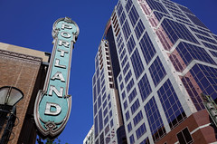 """""""Portland"""" (Eric Flexyourhead (shoulder injury, slow)) Tags: city blue sky urban usa building tower sign architecture oregon portland theater downtown theatre clear pdx ricohgr stumptown arleneschnitzerconcerthall swbroadway rosecity multnomahcounty swmainstreet"""