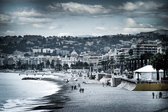 The Beach at Nice (James- Burke) Tags: landscape beach france nice scenic seascape vista outdoor water waterfront skyline city seaside seasideresort beachscene