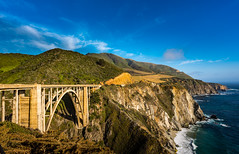 Bixby Bridge (Maxinux40k) Tags: ocean california bridge sea sky usa water june clouds landscape outdoors coast spring nikon waves outdoor bigsur hills montereycounty nikkor bixbybridge waterscape 2016 d810 mitchellcipriano afs24mmf18g