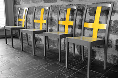 The yellow crosses (pineridgephoto) Tags: blackandwhite white black chair cross arkitektur svartvitt