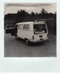 unloading the bus (EllenJo) Tags: sx70 impossibleproject instantfilm bw blackandwhite polaroid clarkdalearizona verderiver verdevalley ellenjoroberts ellenjo september september19 polaroidsx70 theimpossibleproject instant 2016