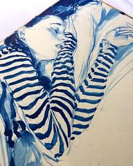 Blue ink drawing in morning sketch book @inktober #inktober2016... (Dorian Vallejo) Tags: art fine drawing figure mixed media drawings oil painting dorian vallejo