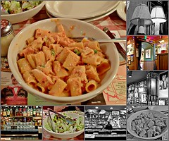 Birthday Collage (A Bit Early) (Cooling Down Again Yay!!!) Tags: birthday collage bucadibeppo food rigattoni salad lamps lights booth table italian eatery restaurant bar dishes plates utensils menu garlicbread drinks