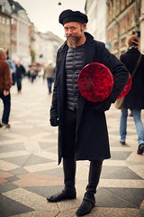 A portrait of man holding a kaleidoscope effect stall (snowpine) Tags: street portrait people copenhagen candid streetphotography streetportrait style mustache bearedman