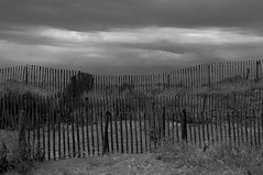 What Dreams May Come ... (cнαт-ɴoιr^^) Tags: sea bw france fence frankreich meer dunes horizon sw zaun horizont mediterraneansea dünen mittelmeer legrauduroi fieldofvision mittelmeerküste 20140615imgp6775