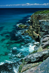 Osprey Lookout, Nadgee, 1985 (NettyA) Tags: sea summer film water 35mm australia slide cliffs coastal bushwalking nsw scanned newsouthwales kodachrome 1986 1985 scannedslide polarisingfilter farsouthcoast nadgee nadgeenaturereserve ospreylookout