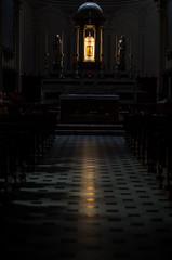 IMGP9812 (impix) Tags: italien light italy como church bench lago italia glow floor religion sightseeing kirche hallway chiesa di glowing ferien luce pavimento menaggio