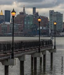 Street lights in Hoboken, New Jersey. (abochevarov) Tags: morning water newjersey streetlights hoboken hobokennj lamplights nikondf
