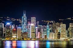 One Night in Hong Kong (Yuanshuai(TIM) Si) Tags: china longexposure art architecture buildings hongkong downtown nightshot pentax mongkok bankofchinatower hsbc metropolitan k5 sigma1770mmf2845 citylift
