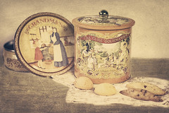 I love old cookie boxes! (reinosdeazucar) Tags: wood old blue orange brown cookies azul vintage madera box caja retro textures jar cloth naranja antiguo lata galletas marrn pao