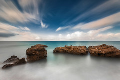 Crystal clear (ilias varelas) Tags: longexposure blue light sea seascape motion beach water clouds rocks colours greece ilias canonef1740mmf4l varelas canoneos6d