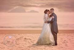 Beach... (sharonannphotography) Tags: wedding sunset couple weddingdress beachwedding brideandgroom weddingphoto firstkiss weddingphotography meandmrs