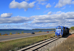 Grand Traverse Bay (GLC 392) Tags: city railroad sky lake water clouds bay great central lakes grand traverse system co depot chessie glc 395 399 emd gp382