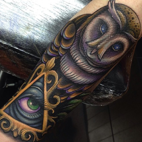 and illuminati eye sleeve tattoo by Craig Holmes   iron horse tattoo    Illuminati Tattoo Sleeve
