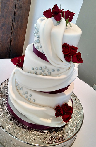"""A wine and roses wedding cake for this lovely couple. • <a style=""""font-size:0.8em;"""" href=""""http://www.flickr.com/photos/50891271@N03/16161625269/"""" target=""""_blank"""">View on Flickr</a>"""