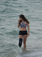 Bathers and Knee Brace (mikecogh) Tags: woman injury bikini protection henleybeach bathers kneebrace