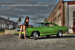 D1 (skyisthelimitdj) Tags: sky green classic cars girl car racecar photography drive photo model women pretty driving muscle plymouth posing fast burnout lime gtx