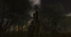 Gates of Dreams 2 (Hunter_Kingsbury) Tags: trees grass statue fog clouds fence death gate cloudy reaper sinister gothic foggy statues haunted spooky secondlife morbid shroud haunting nightmare macabre dreamlike shrouded tallgrass haunt grimreaper hoodedfigure brokenfence hunterkingsbury shelly70 gatesofdreams