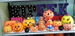 Pumpkin party (stevensonmetal) Tags: halloween sign cat vintage pumpkin jackolantern rip pumpkins blow plastic mold eek blowmold