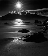 Isle of Rum from Laig Bay (alanbill99) Tags: sunset blackandwhite bw islands scotland fuji noiretblanc eigg laig captureone xt10 xf1655