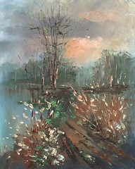 Evening spring sunlight (flitart) Tags: spring seasons paintingoncanvas landscapeoilpainting scenerypaintings naturepaintings paintingsoftrees paletteknifepaintings oilpaintingwithknife