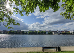 Copenhagen sunstar (acase1968) Tags: sun lake clouds copenhagen bench denmark star nikon cloudy sunny tokina swans danish danmark f28 kbenhavn d500 partly peblinge 1120mm