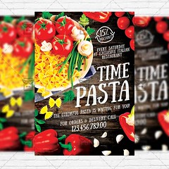 Pasta Time  Premium Flyer Template + Instagram Size Flyer (ExclusiveFlyer) Tags: new wood food hot texture loft dark tomato paper print poster lunch lemon flyer italia salt hipster free ham pasta meat pizza eat greens chilly onion