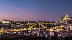 Dom Lus I Bridge at night, Porto ({heruman}) Tags: bridge sunset panorama portugal night river fuji x porto douro fujifilm 1855 169 oporto duero xe1 domluisi germanvidal