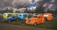 The Blue and the Orange (Steve Walser) Tags: trailer trailers boler fiberglass camp camping summer mustang car cars