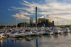 Michigan City Harbor 9-12-2016 8607 (www.cemillerphotography.com) Tags: lakefront lakemichigan sundown dusk nightfall washingtonpark recreation megawatt energy emissions indiana factory smokestack smoke