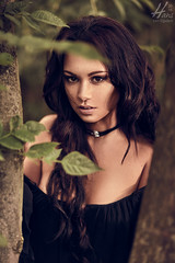 Kristel (Hans van Eijsden) Tags: darkhair portrait sensual longhair individuals day outdoor posing individuality youngadult forest standing makeup elinchrom model elb400 glamour personality beauty female girl lady oneperson outside woman zwolle overijssel netherlands nl