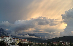 Most spectacular skies over Babada (VillaRhapsody) Tags: light sunset sky mountain beautiful clouds evening town interesting fabulous fethiye babadag challengeyouwinner