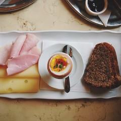 Breakfast, Cafe Savoy (aubreyrose) Tags: food cake cheese breakfast square prague egg ham czechrepublic cafesavoy instagram