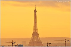 Day's fading light (alcowp) Tags: sunset paris france construction eiffeltower cranes fra secretan
