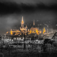 Golden city (hispan.hun) Tags: city light castle night photography gold lights golden hungary cityscape capital budapest parliament citylights parlament hu hun hdr burg vr