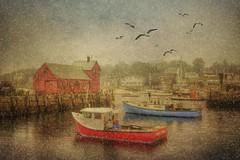 Rockport Motif (Sunset Sailor) Tags: snow motif boats 1 harbor massachusetts gulls wharf lobster rockport capeann