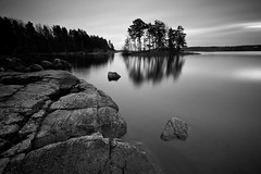 hackelboö rocks (Explored) (Andreas Lööf) Tags: longexposure trees sunset blackandwhite lake nature water monochrome reflections landscape rocks sweden tripod nopeople explore scandinavia tranquil sigma1020mm calmwater lakescape explored nordics järnlunden rimforsa lightcraftworkshopnd500 sonyalphaslta77