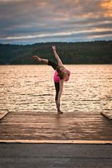 Sam (wa2wider) Tags: pink woman lake girl beautiful beauty yoga sunrise pier dance dock nikon strobe strobist d7000 sb700