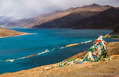 Prayer Flag @ Yamdrok Lake, Tibet (Feng Wei Photography) Tags: china travel mountain lake color tourism water beautiful beauty horizontal relax landscape religious scenery colorful asia tour view outdoor prayer religion scenic tranquility buddhism landmark tibet holy sacred vista tranquil prayerflag yamdrok tibetanbuddhism yamdroklake yamdrokyamtso nagarze gampapass