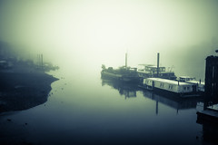 Ghost ships (Andrew G Robertson) Tags: mist 3 london fog thames 35mm canon river eos boat ship iii 14 ghost hammersmith 5d riverthames barge mk mkiii mk3 canon35mm14 canon5dmkiii