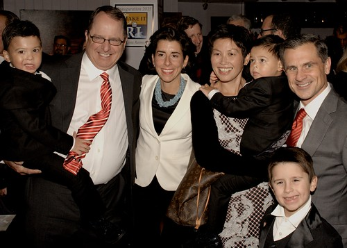 Gov. Gina Raimondo celebrates with her family at Waterplace Restaurant. Photo by John Nickerson.