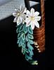 Blue Green Willow kanzashi (Bright Wish Kanzashi) Tags: original white flower green handmade willow tsumami kanzashi zaiku