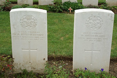 T.A. Rutherford & D. Sutherland, Royal Inniskilling Fusiliers, 1916, War Grave, Connaught Cemetery (PaulHP) Tags: france west cemetery grave john private war durham view 1st action thomas d headstone great royal july bn number e killed service ww1 11th lumley sutherland ta phyllis rutherford rif 1916 connaught fusiliers somme battalion hexham thiepval acomb newcastleontyne 14931 18234 alsopp cwgc inniskilling hexhamontyne northerhumberland