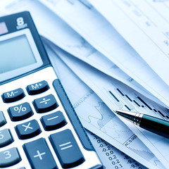 Financial concept. Calculator and pen. (scottcollins0000) Tags: white abstract black macro home sign pen writing paper office background plan business numbers document calculator data financial investment finance