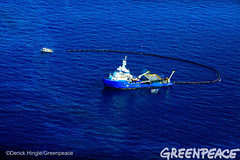 Working On Shell Oil (Greenpeace USA 2016) Tags: ocean usa gulfofmexico louisiana ship gulf shell greenpeace aerial oil drilling skimming fossilfuel breakfree cleanenergy portfourchon