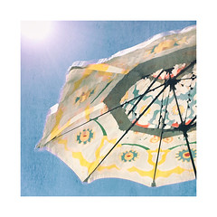 Summer Early (ra1000) Tags: summer sky sunshine umbrella icm