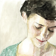 Stefan Harris  Audrey Tautou as Amelie Poulain, 2010. Painting: Watercolor. WatercolorFemale PortraitsLooking Down (ArtAppreciated) Tags: art film female portraits watercolor painting eyes looking contemporary fineart down blogs stefan audrey amelie portraiture artists actress modesty british harris figurative tautou poulain artblogs tumblr downturned 2010s artoftheday artofdarkness date2010 artappreciated artofdarknessco artofdarknessblog