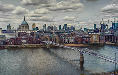 St Pauls and Millennium Bridge (old_skool_paul) Tags: street city bridge sky panorama london history architecture modern clouds wow river ego lens landscape amazing cool moody cityscape fuji serious tate quality famous tripod stock stpauls bridges rangefinder wideangle millennium sharp fisheye special adobe howto fixed edition viewpoint riverthames supreme gettyimages dreamscape sogood lightroom londonstreet x100 tumblr skatelife eyeem x100s x100t londner