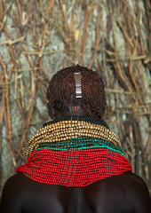 Nyangatom tribe woman with piles of beads, Omo valley, Kangate, Ethiopia (Eric Lafforgue) Tags: africa red people color green vertical outdoors necklace women day adult african decoration jewelry tribal indoors pile blackpeople bead omovalley tradition ethiopia tribe ethnic cultural oneperson jewel developingcountry ethnicity hornofafrica ethiopian eastafrica abyssinia traditionalclothing realpeople blackskin beadednecklace bume onewomanonly 1people indigenousculture africanculture ethnicgroup bodyadornment nyangatom watchbracelet kangate blackethnicity ethiopianethnicity kangatan ngakaaly ethio161706