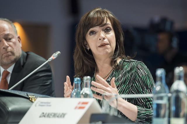Yuriria Mascott Pérez speaks during the Closed Ministerial Session